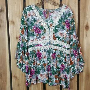 Jodifl Floral Print Boho Top Embroidery
